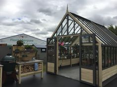 Modern greenhouse from cultivar with double doors.