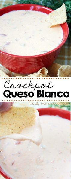 Crockpot Queso Blanco – best queso dip recipe EVER! American cheese, diced tomat… Crockpot Queso Blanco – best queso dip recipe EVER! American cheese, diced tomatoes, chiles, and seasonings – perfect for your next party! - Everything About Appetizers Appetizers For Party, Appetizer Recipes, Party Snacks, Party Dips, Party Recipes, Party Crockpot Recipes, Appetizer Ideas, Party Desserts, Party Party
