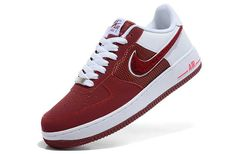 Mens Nike Air Force 1 Wine Red White Towel Logo Shoes