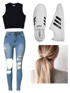 """""""School outfit"""" by mikayla714 on Polyvore featuring adidas"""