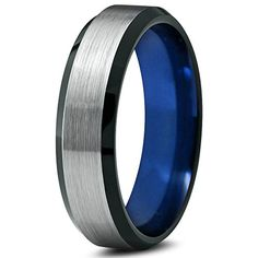 Chroma Color Collection Tungsten Wedding Band Ring 6mm for Men Women Blue Red Green Purple Black Beveled Edge Brushed Polished