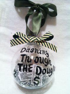 Funny Christmas ornament, glass ornament, Ornament, Dashing through the dough ornament