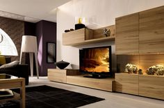 Breathtaking modern living room with brown wooden wall mounted cabinets and flat tv table and brown wooden display shelves with glass barrier. Cozy design ideas of modern living room wall units. Razode home designs gallery Tv Stand Furniture, Media Furniture, Brown Furniture, Living Room Furniture, Living Room Decor, Furniture Ideas, Furniture Inspiration, Wood Furniture, Modern Furniture
