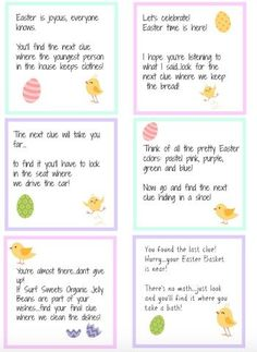 Easter egg hunt clueswe have done this a few times makes it much easter scavenger hunt free printable clues negle Gallery