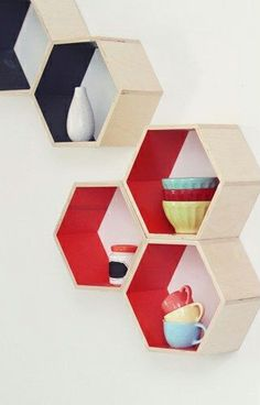 Honeycomb shelves with color pop // love this!   via Uncovet