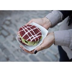 From the blog: Green tea and red velvet cake ice cream sandwich