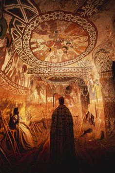 The inside of Abuna Yemata church is covered in frescoes of saints.  Location:Aksum, Tigray, Ethiopia