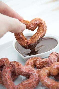 Heart-Shaped Churros coated in Strawberry Sugar and served with Chocolate Sauce   ElephantasticVegan.com #vegan #churros #heartshaped #valentinesday #strawberry #dessert #sweet