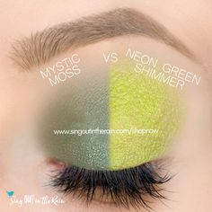 Neon Green Shimmer vs. Mystic Moss ShadowSense side by side comparison.  These long-lasting SeneGence eyeshadows help create envious eye looks.  #eyeshadow #shadowsense