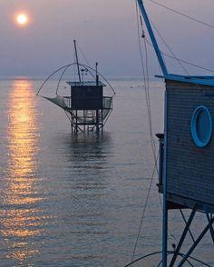 Le Port de Saint Nazaire au coucher du soleil... #cabane de #pêcheurs