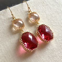 Champagne and Wine Earrings Ruby Color by anatoliantaledesign, $34.00