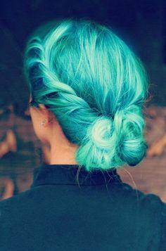 turquoise hair.