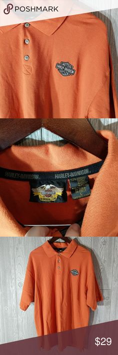 Lg Harley-Davidson Polo burnt orange Very nice lightly-used Harley-Davidson Polo and burnt orange. Has Harley-Davidson embroidery logo on breast. Size large. No pics rips stains or tears. Harley-Davidson Shirts Polos