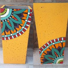Decorated Flower Pots, Painted Flower Pots, Painted Pots, Mosaic Pots, Mosaic Garden, Mosaic Glass, Tole Painting, Pottery Painting, Mosaic Art Projects