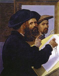 bernardino licinio, ?portrait of an architect (mirrored) and self-portrait, 1520s, martin von wagner museum, würzburg.