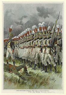 Infanterie de ligne française pendant la campagne de Russie, 1812. Illustration de Maurice Orange.