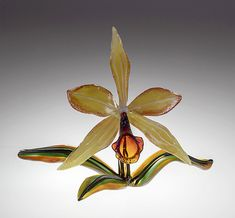 Gold Orchid by Loy Allen. Lampworked glass orchid with glass leaf base. Modern Southwest Decor, Elements Of Nature, Modern Glass, Orchids, Art Nouveau, Glass Art, Perfume Bottles, Sculpture, Artist