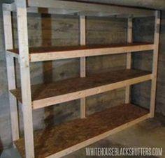 best Ideas for garage storage shelf basement shelving Basement Storage Shelves, Wooden Storage Shelves, Garage Shelving, Desk Storage, Food Storage, Storage Ideas, Garage Shelf, Utility Shelves, Wooden Bookcase