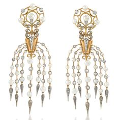 Waterfall chandelier earrings, ca. 1860 | 18K gold, natural pearls, diamonds