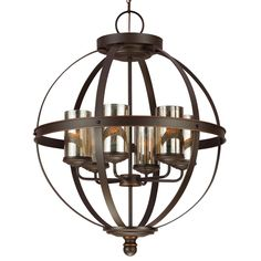 Caged Globe Cylinder Glass Chandelier Entry Way Light