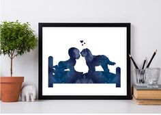 *** NO PHYSICAL PRINTS OR FRAMES INCLUDED - DIGITAL FILE ONLY ***  Baby kissing doodle breed Dog print Blue watercolor Newborn gift Baby with dog on bed Baby room decor Doodle print Instant download  Thank you for checking out my printables on ArtPrintsByChrista. I enjoy to make