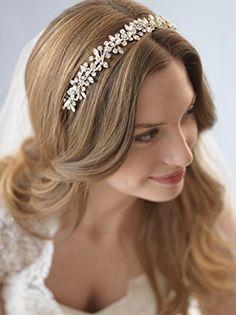 USABride Wedding Headband Botanical Freshwater Pearl & Crystal Floral Vine Bridal Headpiece 3231 -- Read more  at the image link.
