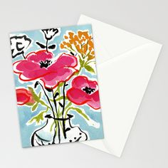 Poppy Impromptu Stationery Cards by Edith Jackson-Designs | Society6