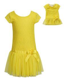 Loving this Yellow Drop-Waist Dress & Doll Dress - Girls on #zulily! #zulilyfinds
