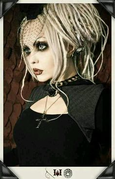 Goth, Neo-Victorian, white hair, dreads, snake bites, pretty eyes, red lips, alternative