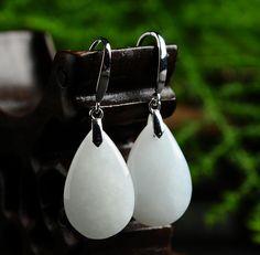Excellent 100% A Grade Natural Jade/Jadeite 925 Sterling Silver Water Drop Dangle Earrings