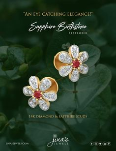 Sapphire Birthstone, Red Sapphire, Birthstones, Diamond Jewelry, Gold Earrings, Studs, Jewelry Design, Brooch, Ear Rings