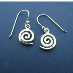 "Silver Small Celtic Spiral Drop Earrings-Irish Made Amethyst Dublin. $36.00. Packaged in a gift pouch.. Fishhook style earring. Earrings are approximately 3/8"" wide."
