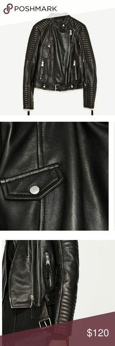 ZARA Leather Motorcycle Jacket Gorgeous 100% Leather Jacket. Brand New, Never worn, with tags. Zara Jackets & Coats