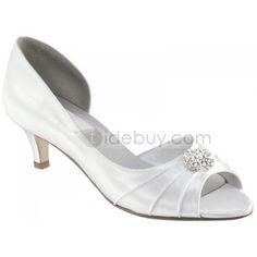 Leatherette Upper Mid Heel Peep-toes With rhinestones Wedding Bridal Shoes