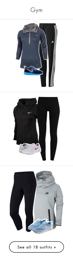 """""""Gym"""" by fly-through-the-clouds ❤ liked on Polyvore featuring adidas, NIKE, Zalando, plus size clothing, jamessets1556, jamesoutfits1556, Under Armour, Urbanears, Victoria's Secret PINK and Venice Beach"""