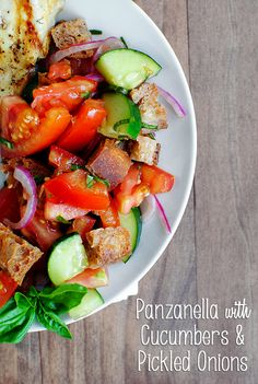 Panzanella with Cucumbers & Pickled Onions. The perfect summer side dish!