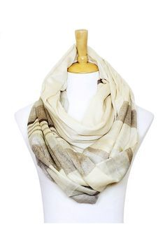 Erin Infinity Scarf in Ivory and Mocha