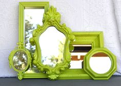 Ornate Lime Green Mirror Set of 5 - Upcycled Vintage Chunky mirrors..Gallery Wall or Bedroom Grey Lime Chartruese White Modern Bright Retro on Etsy, $81.00
