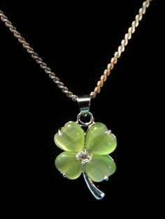 Pale Green Opal Necklace With 9.5 Silver Chain