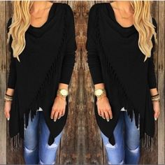 HP Black Tassel Hem Top Hot Style Tassel hem top with top side button closure!!  Marked as L but converts to US Medium! Tops
