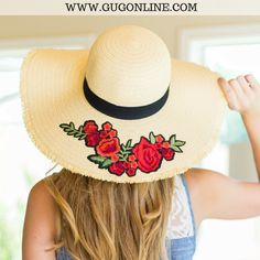 Rose Embroidered Tan Floppy Straw Hat ffc03b49b136