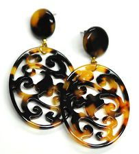 Fashion scrolled open work drop earring in faux tortoise shell and other colors