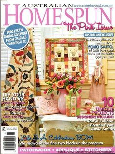 Australian Homespun The Pink Issue part 1 life is a celebration part birthdays and rose wreath no pattern pages, save Sewing Magazines, Cross Stitch Books, Origami, Crochet Books, Book Quilt, Journal, Quilting Designs, Fabric Crafts, Hand Embroidery
