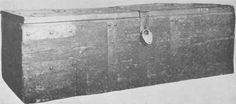 Fig. 5. Deal Chest. Boxford Church, Suffolk. - 5 ft. long by 1 ft. 6 3/4 ins. high by 1 ft. 10 ins. front to back.