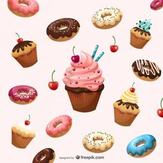 More than 3 millions free vectors, PSD, photos and free icons. Exclusive freebie… More than 3 millions free vectors, PSD, photos and free icons. Exclusive freebies and all graphic resources that you need for your projects – Cupcake Low Sugar Desserts, Cute Desserts, Delicious Desserts, Dessert Recipes, Carnival Decorations, Cake Vector, Cupcake Art, Weight Watchers Desserts, Food Backgrounds