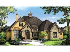 Floor Plan AFLFPW76897 is a beautiful 1715 square foot + French Country home design with 2 Garage Bays