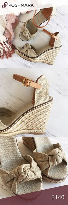 Tory Burch wedge espadrille sandals Tory Burch | 'Macy' wedge espadrille sandals. These versatile and classy espadrilles feature a woven linen toe strap with a hint of golden shimmer. Knotted front detail, adjustable leather buckle strap, and covered platform wedge heel. These go-to summer sandals go with anything from casual dresses to your favorite denim! In new condition. Dust bag/box not included.   Size: 7.5 Tory Burch Shoes Wedges