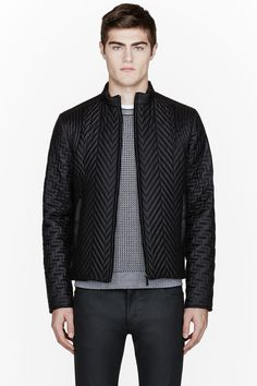 CALVIN KLEIN COLLECTION Black Quilted Herringbone BARIO jacket