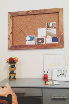 Desk & Framed Cork Board DIY