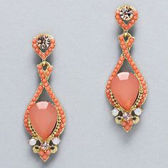 Crystal Daphne Earrings in Soft Coral on Emma Stine Limited